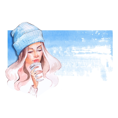 warm weather: Portrait of young pretty girl in cold weather dressed in warm hat