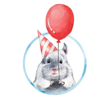Chinchilla 1. Watercolor birthday card Stock Photo