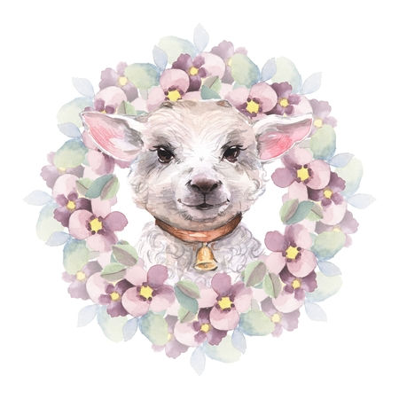 Goatling. Cute watercolor illustration. Hand drawn yeanling. Floral wreath Stock Photo