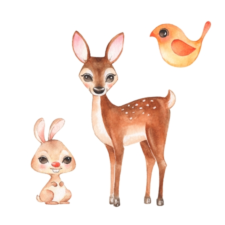 Hand drawn cute fawn, bunny and bird. Cartoon illustration, isolated on white. Watercolor set