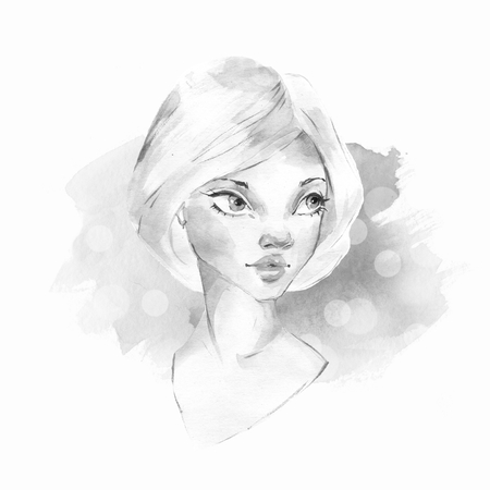 Cara femenina acuarela. En blanco y negro