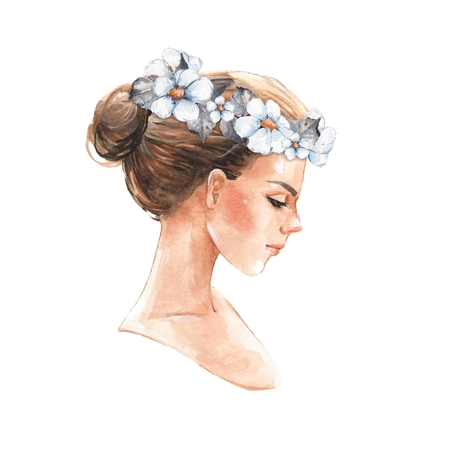 Hand drawn watercolor female face, watercolor painting