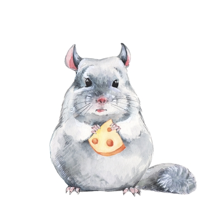 watercolor illustration, hand-drawn cute mouse Stock Photo