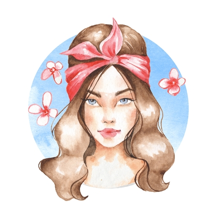 Summer girl, watercolor painting Stock Photo