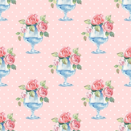 water: Watercolor floral seamless pattern. Glass vase with roses Stock Photo