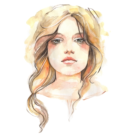 Young girl. Hand drawn female face, watercolor painting