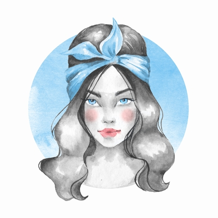 Summer girl. Hand drawn watercolor female face, watercolor painting Stock Photo