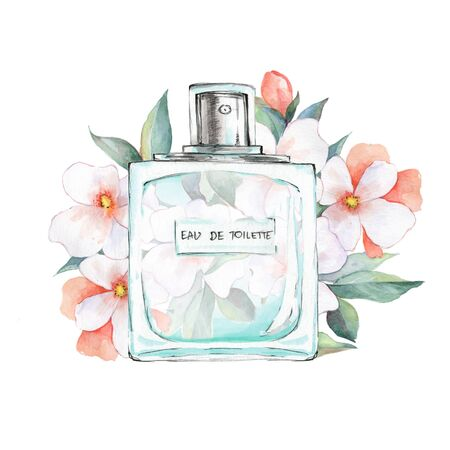 Bottle of perfume and flowers. Watercolor illustration Stock Photo