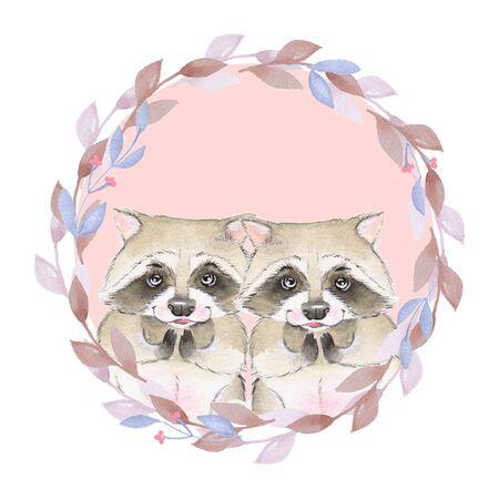 raccoons: Watercolor illustration. Cute raccoons. Couple Stock Photo