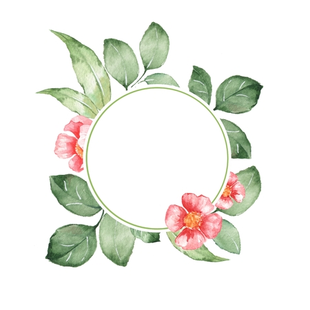 watercolor floral background with hand drawn elements