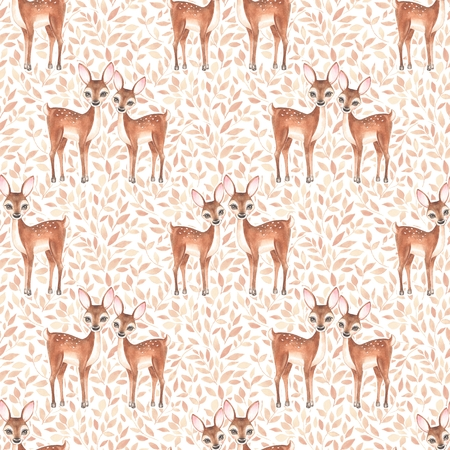 Watercolor floral pattern with fawns Stock Photo