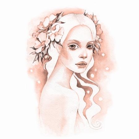 Romantic girl. Watercolor illustration Stock Illustration - 76128971