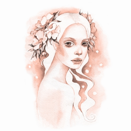 Romantic girl. Watercolor illustration Stock Photo