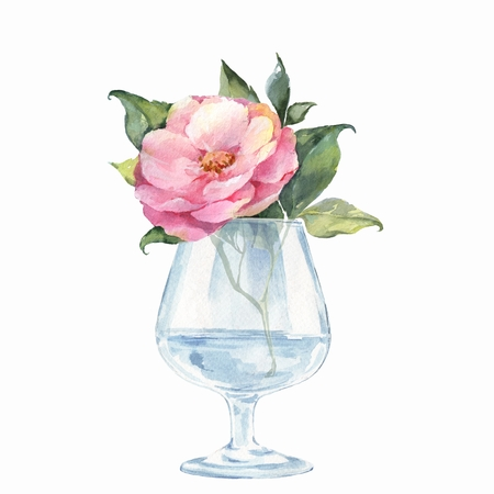 Glass Vase With Flowers Watercolor Illustration Stock Photo
