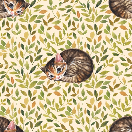 Sleepy cat. Seamless pattern with cute kitten. Watercolor background 2 Stock Photo