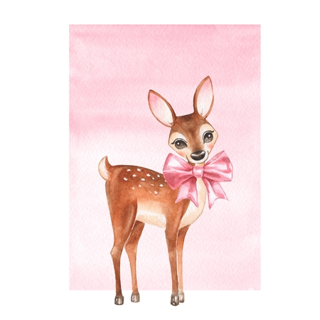 Baby Deer. Hand drawn cute fawn with a bow. Cartoon illustration