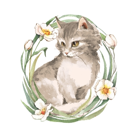 Cat. Cute kitten and flowers. Watercolor painting Stock Photo