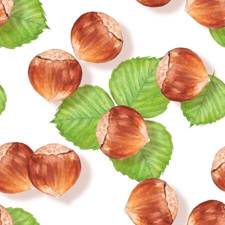 nutshell: Hazelnut. Watercolor seamless pattern with nuts
