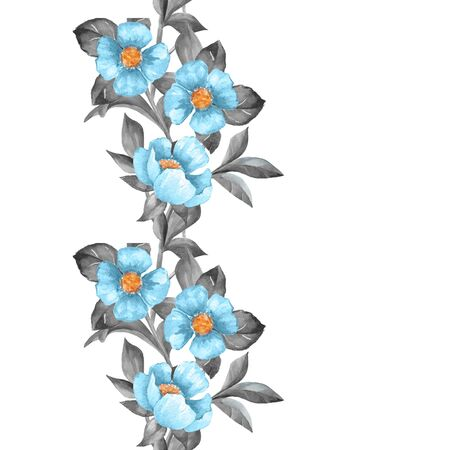 Floral seamless pattern. Watercolor border with blue flowers