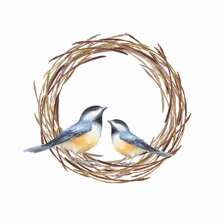 새와 둥지. 수채화 물감