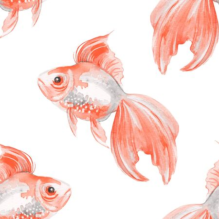 Fish. Seamless pattern. Hand drawn background Stock Photo