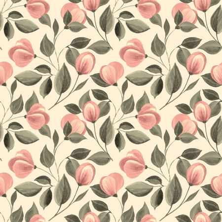 Floral seamless pattern. Watercolor background with flowers 66 Stock Photo