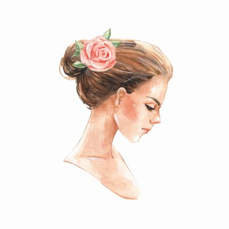Female face, watercolor painting, Stock Photo