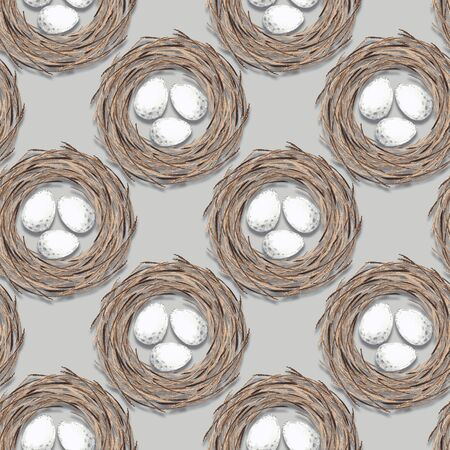 Birds nest with eggs. Seamless pattern Imagens