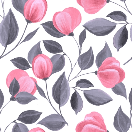Floral seamless pattern. Watercolor background with pink flowers 62