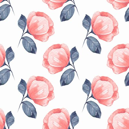 Floral seamless pattern. Watercolor background with red flowers 06