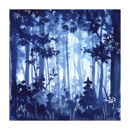 Forest. Watercolor painting. Blue illustration.