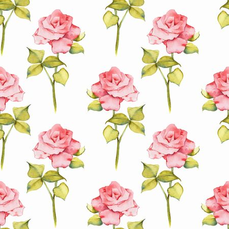 Floral seamless pattern. Watercolor background with roses 2