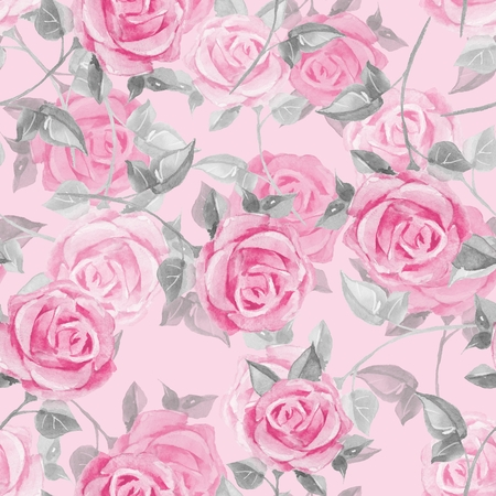 Floral seamless pattern. Watercolor background with roses 17 Stock Photo