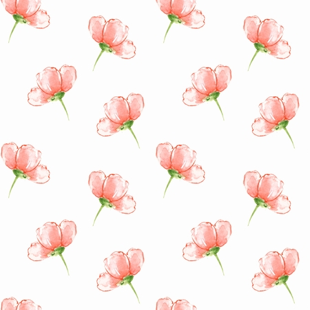 Floral seamless pattern. Watercolor background with red flowers 20