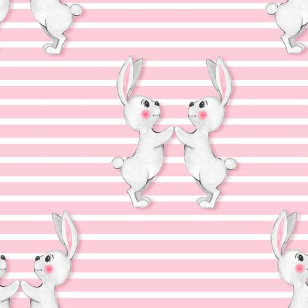 gentle: Seamless pattern with cartoon white rabbits. Watercolor illustration
