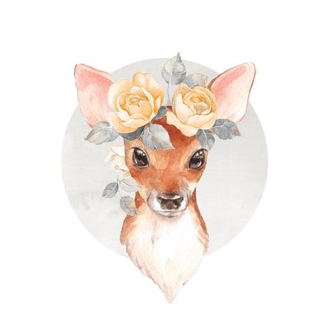아기 사슴 및 꽃입니다. 손으로 그린 귀여운 새끼 사슴입니다. 수채화 그림