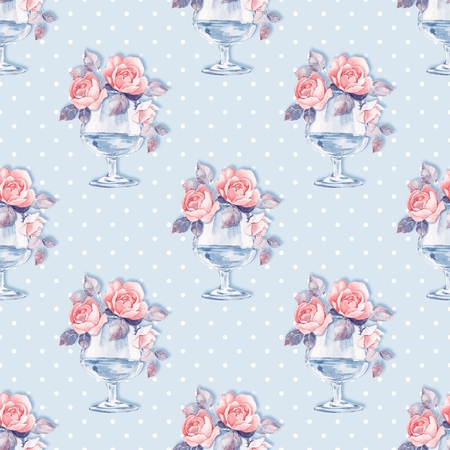 Floral seamless pattern. Watercolor background with roses 7