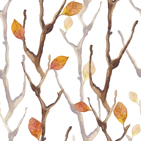 Dry branches and leaves. Seamless pattern 5 Stock Photo