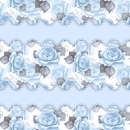 Watercolor floral seamless pattern. Flowers and pearls Stock Photo