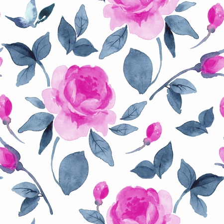 Floral seamless pattern. Watercolor background with vibrant flowers 4 Stock Photo