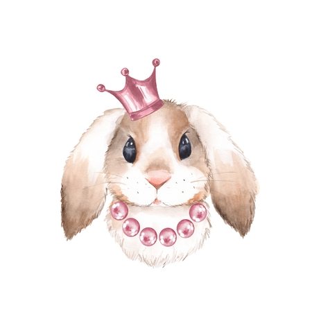 Rabbit and crown. Watercolor illustration