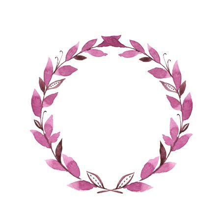 Watercolor laurel wreath. Hand drawn element for design. Round frame