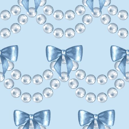 Seamless pattern with pearls and bows. Watercolor