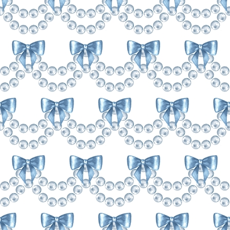 perls: Seamless pattern with pearls. Watercolor illustration 2 Stock Photo