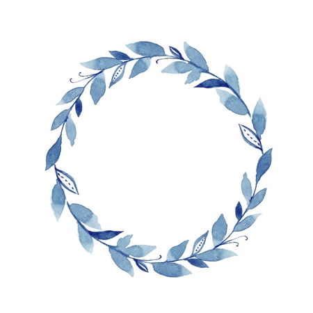 Watercolor laurel wreath. Round frame