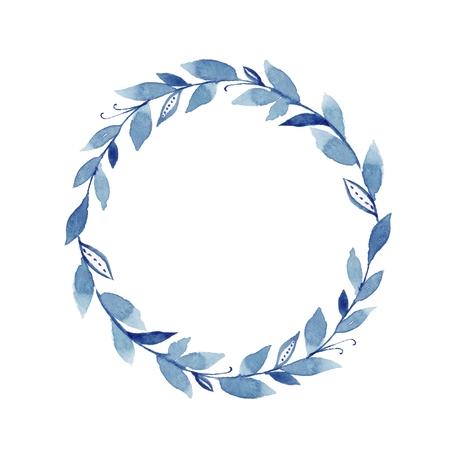 Watercolor laurel wreath. Round frame