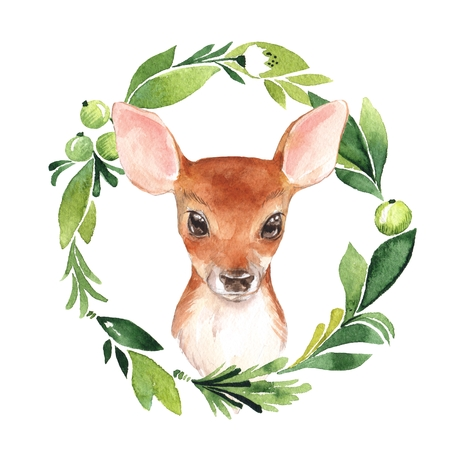 Baby Deer and floral frame. Hand drawn cute fawn. Watercolor