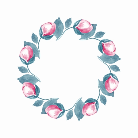 Watercolor floral wreath. Hand round frame 2