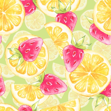 Watercolor seamless pattern with lemon slice. Hand painted background