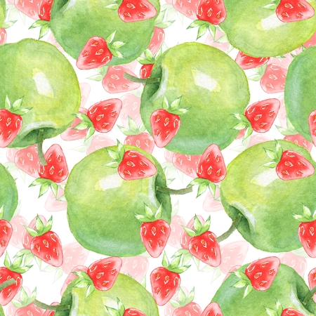 Watercolor apples, seamless pattern with strawberry